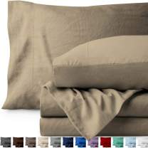 Bare Home Queen Sheet Set - Premium 1800 Ultra-Soft Microfiber Bed Sheets - Double Brushed - Hypoallergenic - Stain Resistant (Queen, Sandwashed Pebble Beach)