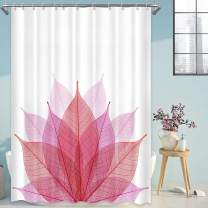Abstract Leaves Shower Curtains for Bathroom, Ombre Fuchsia Skeleton Leaf Fabric Bath Curtain Set with Hooks, Waterproof Washable, 72x72 Inches