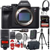 Sony Alpha a7R IV Mirrorless Digital Camera (Body) with, 64GB Pro Memory Card, PRO TTL Flash, Headphones, Tripod, Camera Case Bundle