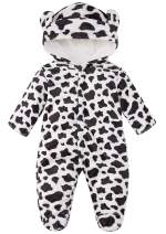 UNICOMIDEA Baby Fleece Snowsuits 0-12 Months Toddlers Cute Bear Jumpsuits Winter Hooded Rompers