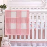 Farmhouse Pink 3 Piece Baby Crib Bedding Set - Floral Rustic Country Theme