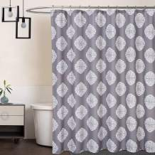 CAROMIO Shower Curtains, Decorative Medallion Damask Print 200GSM Fabric Shower Curtains with Reinforced Buttonholes for Bathroom, Grey, 72x72 Inch