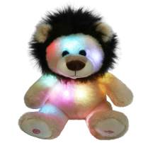 Glow Guards 10'' Light up Stuffed Lion Wildlife Animals Soft Plush Toy with LED Night Lights Glow in Darkness Birthday for Toddler Kids