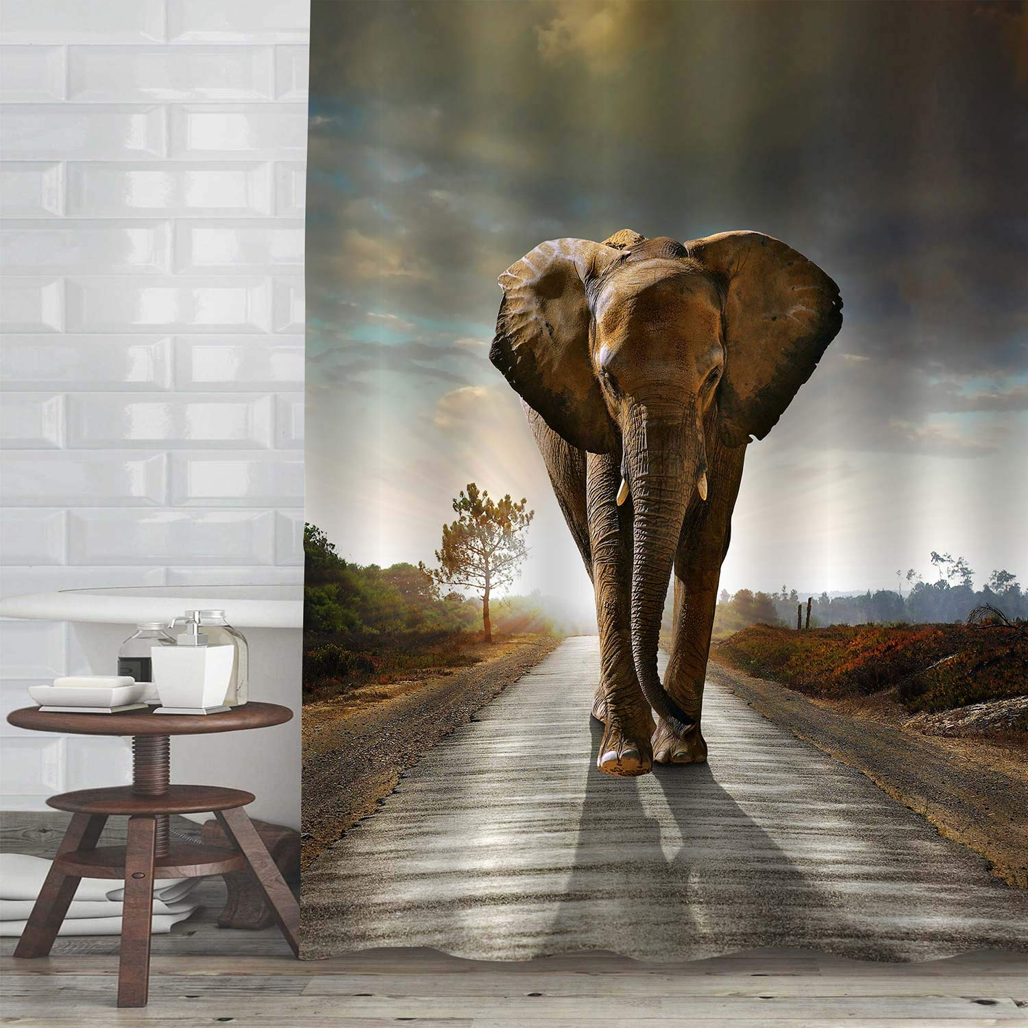 "MitoVilla Lonely Elephant Shower Curtain Set with Hooks, Beautiful Elephant on a Gravel Pathway with Sunrise Backdrop Bathroom Decor, Brown, 72"" W x 84"" L for Bathroom Bathtub"