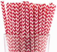 Pack of 300 Red Chevron Biodegradable 4-Ply Paper Drinking Straws (Compostable, Non-toxic, BPA-free)