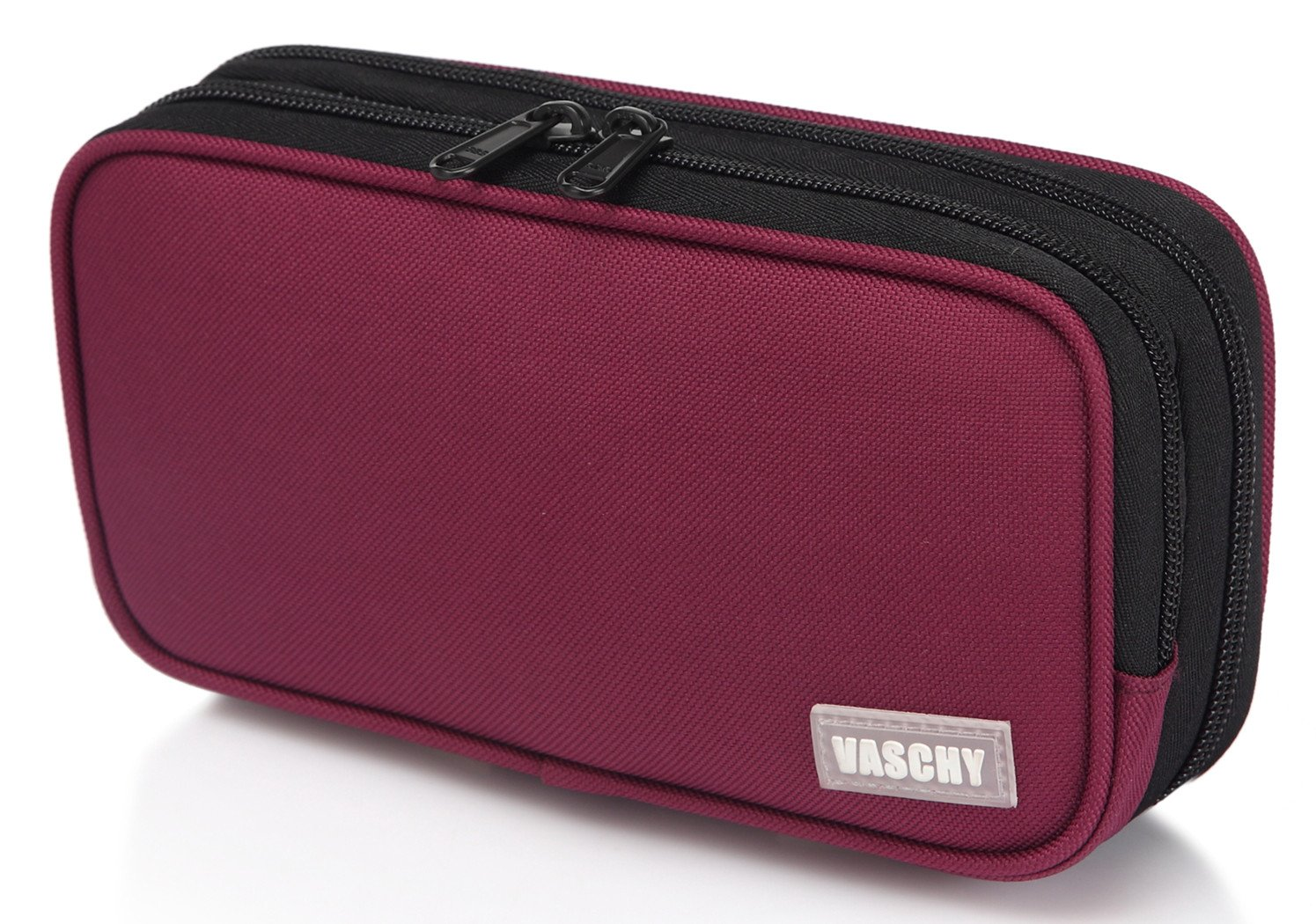 Pen Case,Vaschy Large Capacity Pen Pouch Holder with Double Zippers Multi Compartments Easy Organized Mesh Pockets Burgundy
