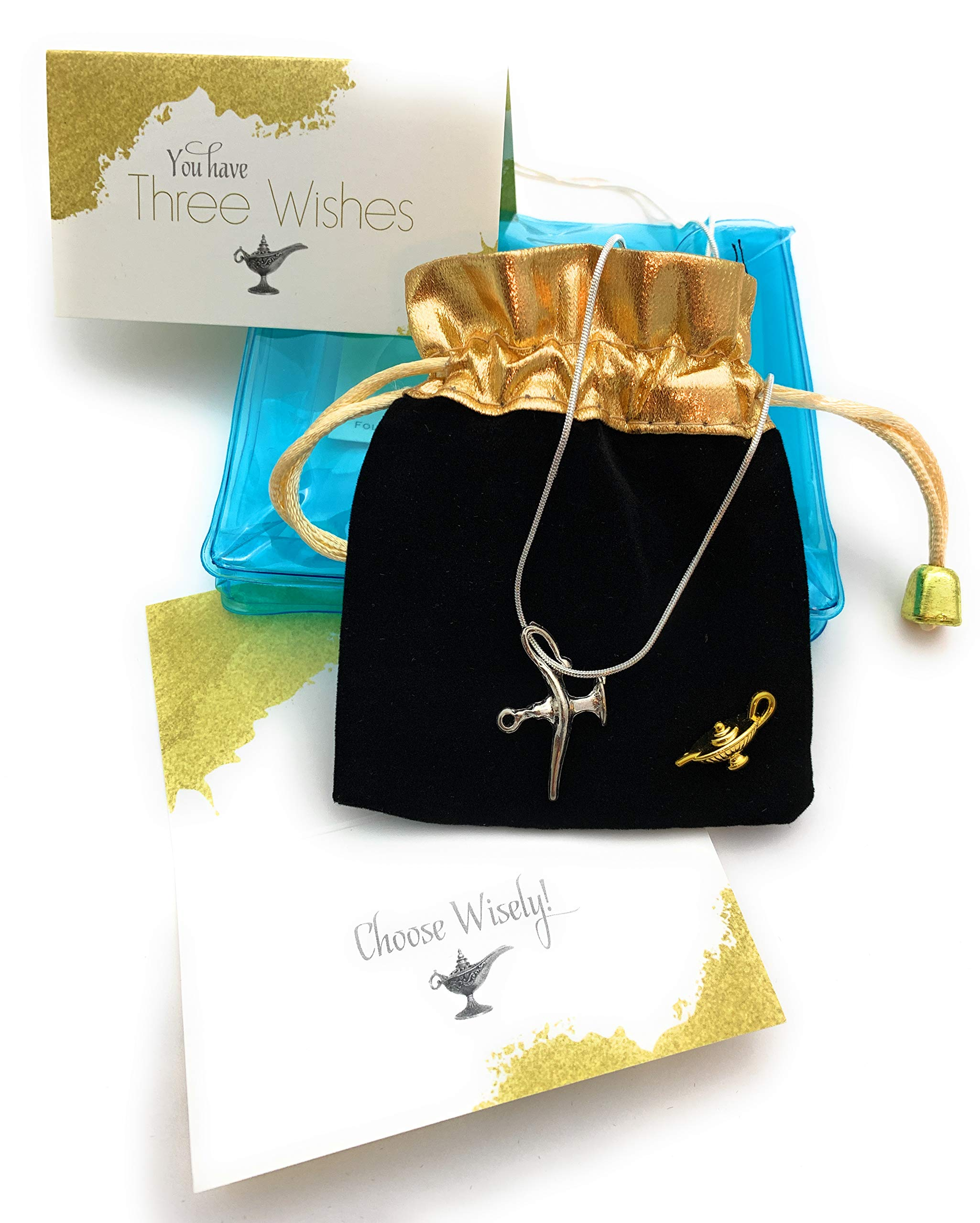 Smiling Wisdom - You Have 3 Wishes Gift Set - 2 Magic Lantern Pendants - Genie Fortune Teller Aladdin Lamp Necklace - For Children, Tween, Teens, Boys, Girls - 1 Silver and 1 Gold - New