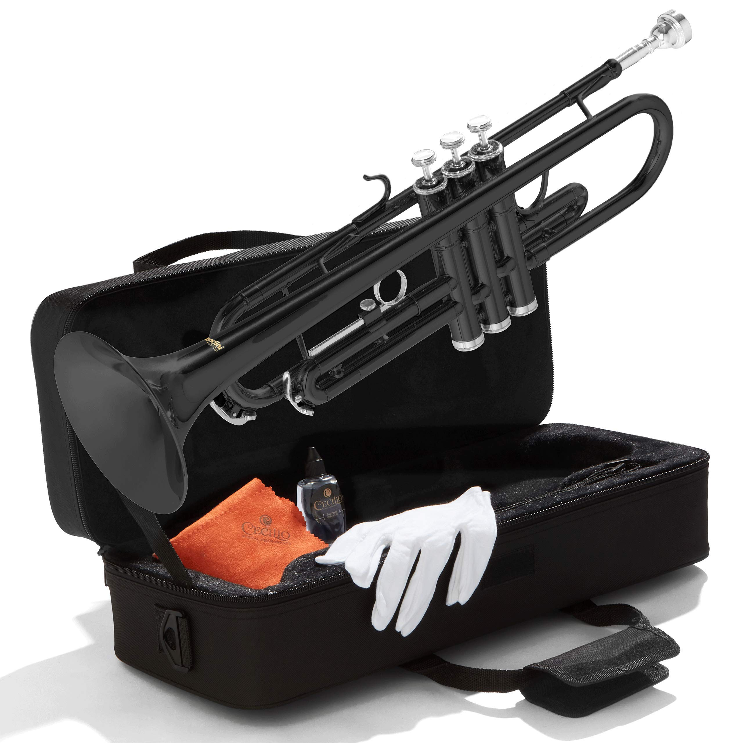 Mendini By Cecilio Bb Trumpet - Brass, Black Trumpets w/Instrument Case, Cloth, Oil, Gloves - Musical Instruments For Beginner or Experienced Kids, Adults