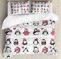 Ambesonne Winter Duvet Cover Set, Penguins Hand Drawn Merry Christmas Greetings Babies Kids Toddler, Decorative 3 Piece Bedding Set with 2 Pillow Shams, Queen Size, White Pink