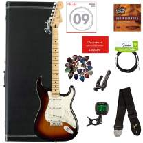 Fender Player Stratocaster, Maple - 3-Color Sunburst Bundle with Hard Case, Cable, Tuner, Strap, Strings, Picks, Capo, Fender Play Online Lessons, and Austin Bazaar Instructional DVD