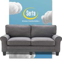 """Serta Copenhagen Sofa Couch for Two People, Pillowed Back Cushions and Rounded Arms, Durable Modern Upholstered Fabric, 73"""", Gray"""