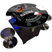 Creative Arcades Full-Size Commercial Grade Pub Arcade Machine | Blackjack Design | Trackball | 60 Classic Games | 2 Sanwa Joysticks | 2 Stools | 3-Year Warranty | Round Glass Top