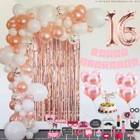Sweet 16 Party Supplies   16th Birthday Decorations   Rose gold Confetti Balloons   Sweet 16 Cake Topper Rose Gold   Foil Curtain for Photo Booth   Includes Photo Props   Sweet Sixteen Decoration
