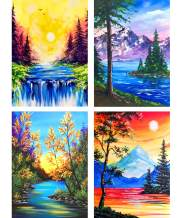 """SKRYUIE 4 Pack 5D DIY Diamond Painting Abstract Lanscape Full Drill Paint with Diamonds Art, Lakes and Mountains Scenery DIY Painting by Number Kits Rhinestone Wall Home Decor 30x40cm (12""""x16"""")"""