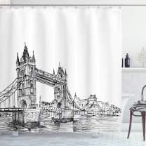 "Ambesonne Vintage Shower Curtain, Old Fashion London Tower Bridge Sketch Architecture British UK Scenery Art Print, Cloth Fabric Bathroom Decor Set with Hooks, 84"" Long Extra, Black White"