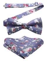 HISDERN Pre-Tie Floral Cotton Bow Tie Pocket Sqaure Boys Kids Bowties Pocket Square Set