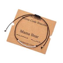 Joycuff Morse Code Bracelets Inspirational Dainty Bangle for Women Mom Daughter Sister Birthday Gifts Handmade Trendy Jewelry for Her Teen Girl Friend Adjustable Wrap Bracelet
