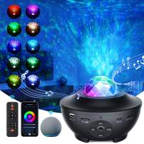 Starry Light Projector, Smart WiFi Galaxy Projector Night Light, Compatible with Alexa and Smart App, 10-Color Music Player with Remote Control/Bluetooth/Timer, Suitable for Children and Adult Parties