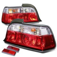 Replacement for BMW E36 3-Series 2Dr Pair of Chrome Housing Red Rear Brake+Signal Tail Light