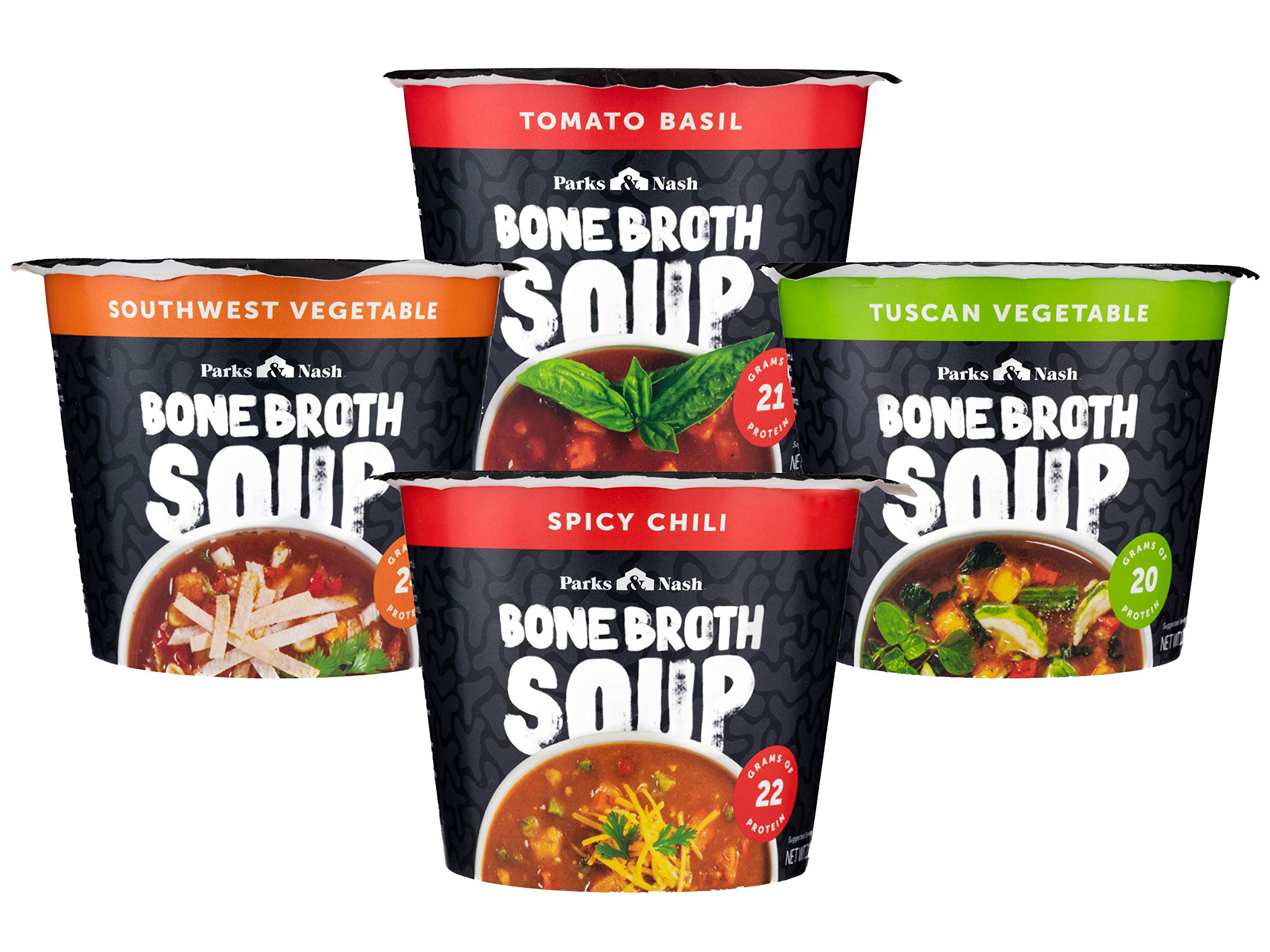 Parks & Nash Bone Broth Soup Variety Pack, 1 Spicy Chili, 1 Southwest Vegetable, 1 Tomato Basil, 1 Tuscan Vegetable, 1 CT