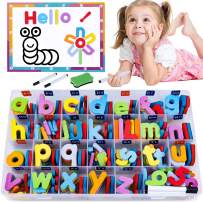 225PCS Magnetic Letters and Numbers for Kids with Double-Side Magnet Board and Storage Box - ABC Uppercase Lowercase Foam Alphabet Letters for Toddlers - Classroom Home Education Spelling Learning Set