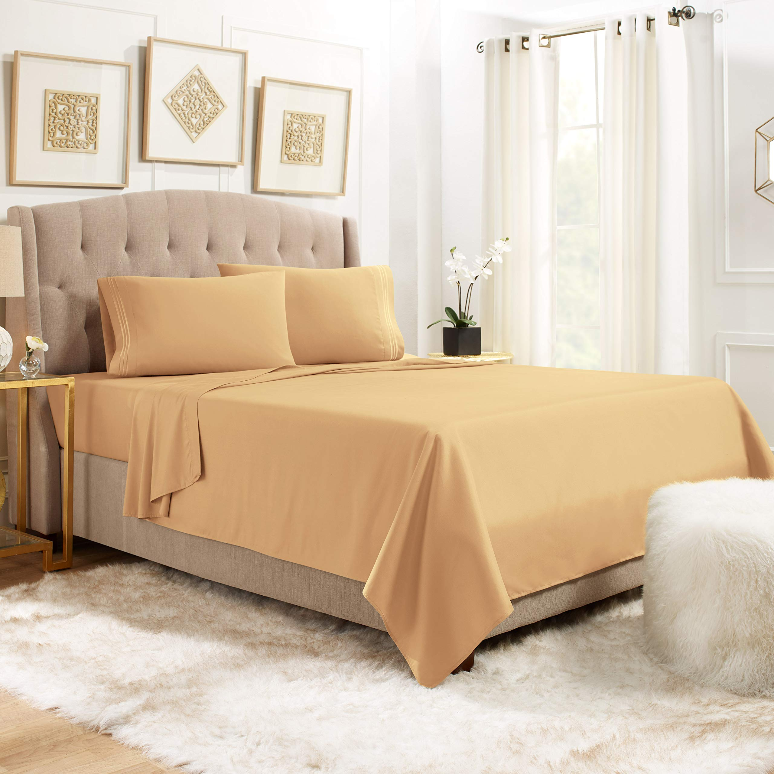 """Empyrean Bedding 14"""" - 16"""" Deep Pocket Fitted Sheet 3 Piece Set - Hotel Luxury Soft Double Brushed Microfiber Top Sheet - Wrinkle Free Fitted Bed Sheet, Flat Sheet and 1 Pillow Case - Twin, Camel"""