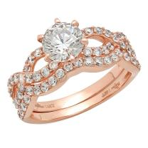 Clara Pucci 1.50 CT Round Cut Simulated Diamond CZ Pave Halo Bridal Engagement Wedding Ring Band Set 14k Rose Gold