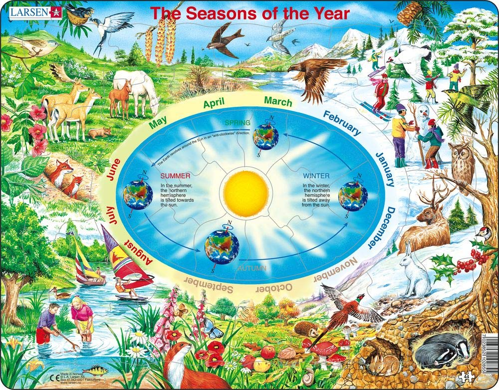 Larsen Puzzles Seasons of The Year Educational Jigsaw Puzzle - 44 Piece Tray & Frame Style Puzzle - Exclusive Premium Hand Made Puzzles - Imported from Norway
