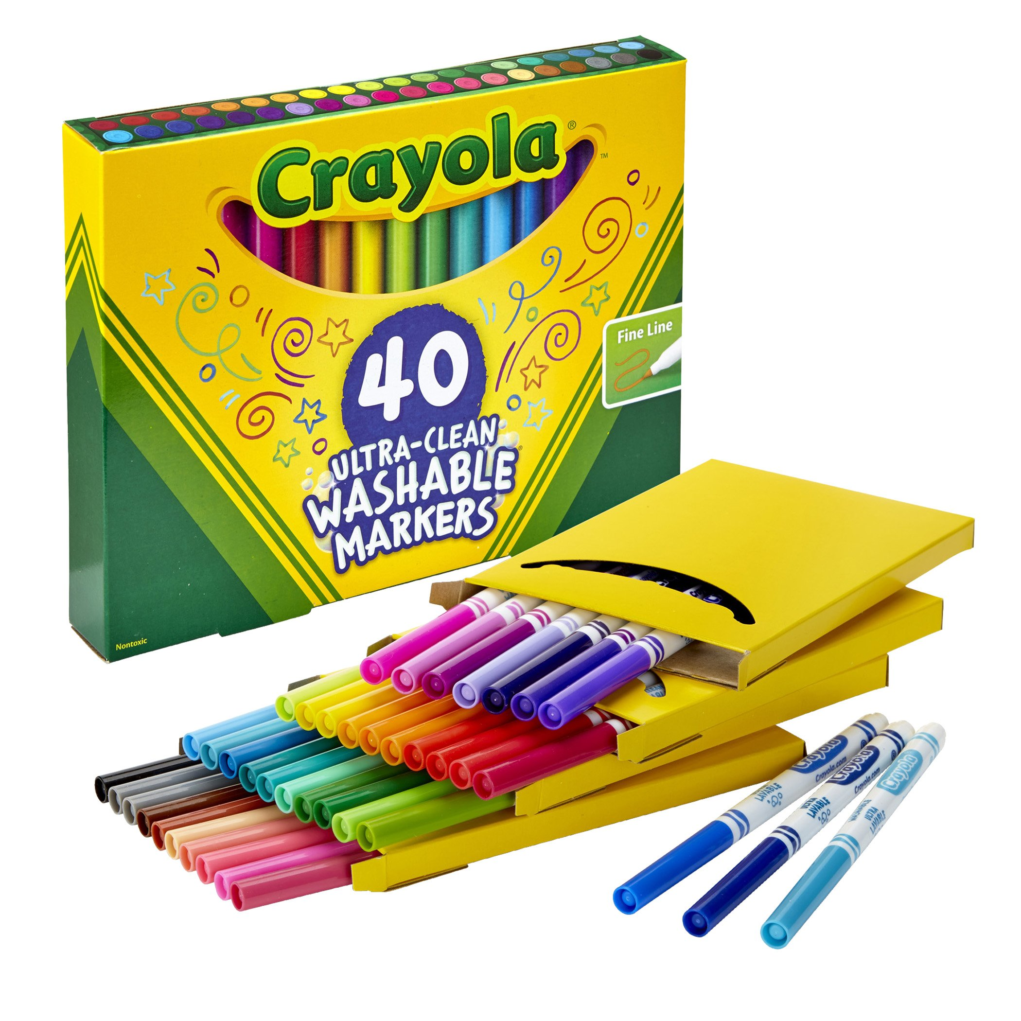 Crayola Ultra Clean Washable Markers, Fine Line Marker Set, Gift for Kids, 40Count