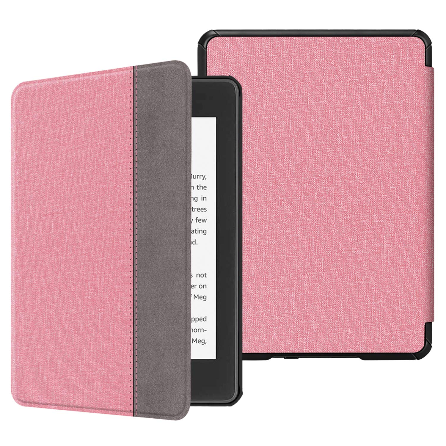 Fintie Slimshell Case for All-New Kindle Paperwhite (10th Generation, 2018 Release) - Premium Lightweight PU Leather Cover with Auto Sleep/Wake for Amazon Kindle Paperwhite E-Reader, Pink/Brown