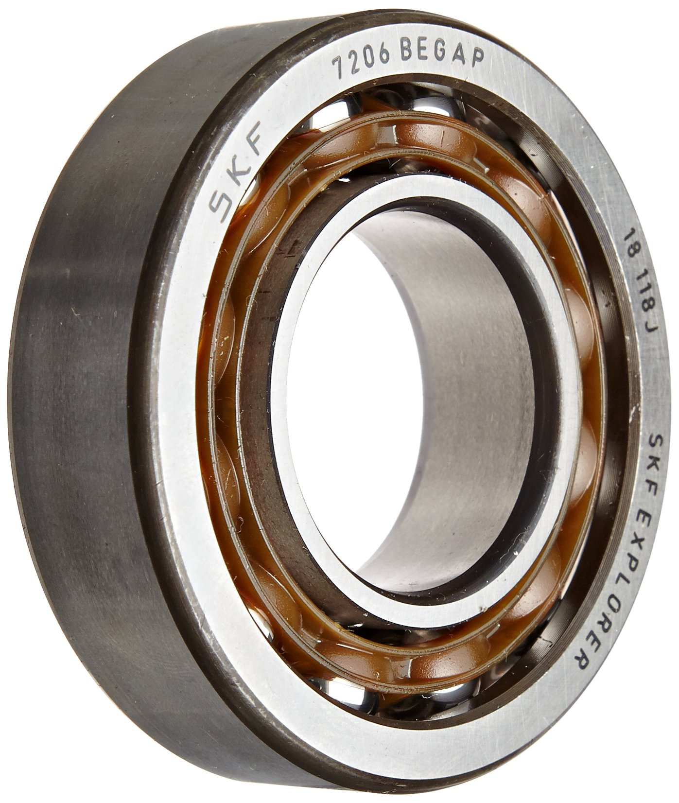SKF 7203 BEGAP Light Series Angular Contact Ball Bearing, Universal Mounting, ABEC 1 Precision, 40° Contact Angle, Light Preload, Open, Polyamide/Nylon Cage, Normal Clearance, 17mm Bore, 40mm OD, 12mm Width