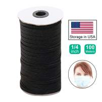 AMAZING UNIVERSE 100 Meter Length 1/4 Inch (6 mm) Width Braided Elastic Band Black Elastic String Cord Heavy Stretch High Elasticity Knit Elastic Band for Sewing Craft DIY (Black)