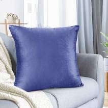 """Nestl Bedding Throw Pillow Cover 20"""" x 20"""" Soft Square Decorative Throw Pillow Covers Cozy Velvet Cushion Case for Sofa Couch Bedroom - Calm Blue"""