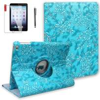 NEWQIANG iPad 9.7 inch 2nd 3rd 4th Generation Case with Screen Protector and Stylus- Model A1395 A1416 A1458 - Shockproof, 360 Degree Rotating Stand, Auto Sleep Wake -MD510LL/A(Embossed Flower)