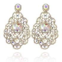 Women's Large Filigree Dangle Austrian Crystal Chandelier Halo Teardrop Stud Post Earrings