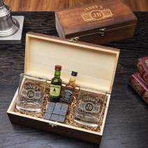 Marquee Engraved Glasses and Stones Gift Box Set for Whiskey Lovers (Personalized Product)