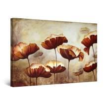 "Startonight Canvas Wall Art Brown Decor Flowers Painting, Framed 32"" x 48"""