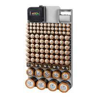 Richards Homewares GREY/110 Piece Richards Organizer with Energy Tester, Holds 109 Different Sizes for AAA, AA, 9V, C, D, and Button Battery, Grey