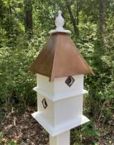 Pour Joy Large 2 Story Bird House, 4 Holes, Copper Roof, Handmade in The USA, Made of Weather Resistant PVC, Holes are Protected by Metal Predator Guards