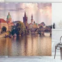 """Ambesonne Landscape Shower Curtain, Pastoral View at Charles Bridge Spires of Prague Central Europe Gothic Buildings, Cloth Fabric Bathroom Decor Set with Hooks, 84"""" Long Extra, Salmon Brown"""