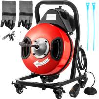 VEVOR Drain Cleaner Machine 50FTx3/8In. Electric Drain Auger 370W Sewer Snake Machine Auto-feed Control,Fit 1-1/2''(38mm)to 3''(76mm)Pipes, w/4 Wheels,Cutters,Foot Switch,for Drain Cleaners Plumbers