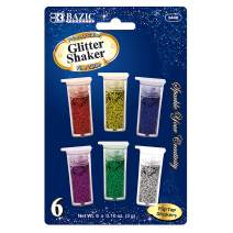 BAZIC 3g/0.10oz. 6 Primary Color Glitter Shaker, Sparkle Powder for Kids Slime Paint Art Nail Skin Halloween Party