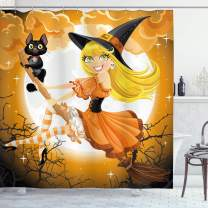"Ambesonne Halloween Shower Curtain, Witch on a Broom with Baby Kitten and Hazy Moonlight Halloween Themed Colors, Cloth Fabric Bathroom Decor Set with Hooks, 84"" Long Extra, Yellow Orange"