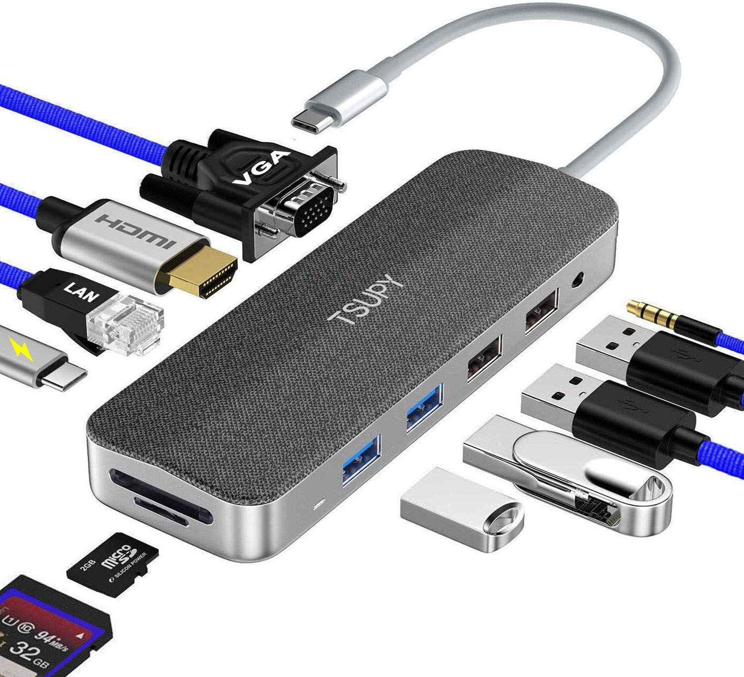 TSUPY USB C HUB, 11 in 1 Type C Adapter Hub with Gigabit Ethernet,4K HDMI,VGA, Fast Power Delivery Charging Port,3.5mm Audio,4 USB Ports and SD/TF Card Reader for MacBook Pro/Air,XPS and More