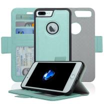 Navor Detachable Magnetic Wallet Case RFID Protection, Logo Hole, Compatible for iPhone 7 Plus [Vajio Series]-Mint IP7PVJMN3