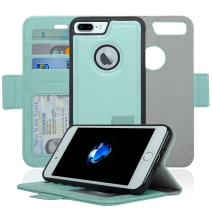 Navor Detachable Magnetic Wallet Case RFID Protection, Logo Hole, Compatible for iPhone 7 Plus [Vajio Series]-Mint IP7PVJMN3