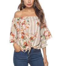 Women's Summer 3/4 Flare Sleeve Tie Knot Blouses Floral Pinted Off The Shoulder Tops