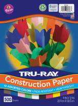 "Tru-Ray (P6588-4) Heavyweight Construction Paper Bulk Assortment, 10 Assorted Colors, 9"" x 12"", 500 Sheets"