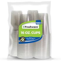 Freshware Plastic Cups [16 oz, 100-PCS] - Disposable Cold Drink Party Soda Cups, Crystal Clear PET Cups
