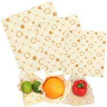 Sumi Eco Beeswax Reusable Food Wrap Covers – 3 Pcs – Assortment of 3 Sizes – Organic, Eco-Friendly & Reusable Kitchen Cling Wrap – Prolonged Freshness